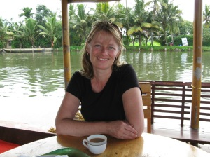 Nancy in Kerala on a houseboat